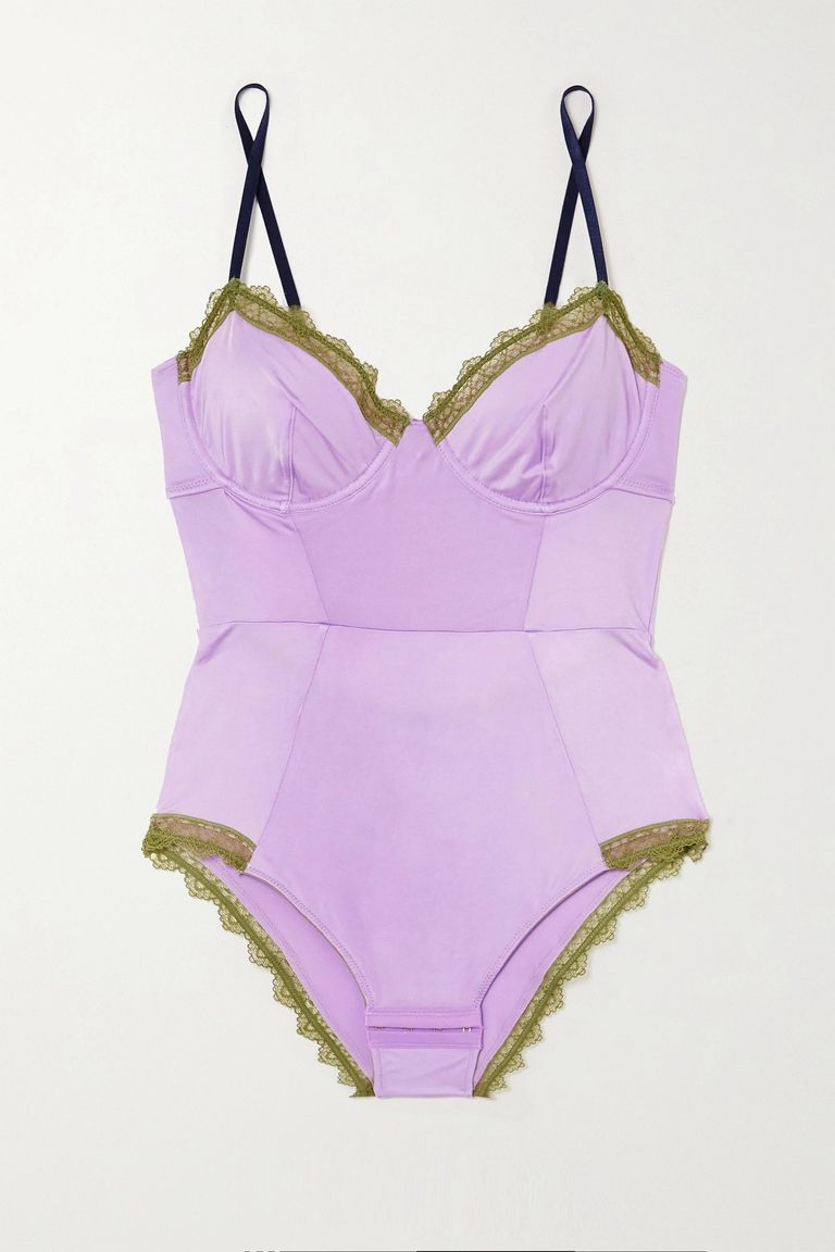 Dora Larsen, Lily lace and stretch satin-trimmed jersey underwired bodysuit, за 180лв