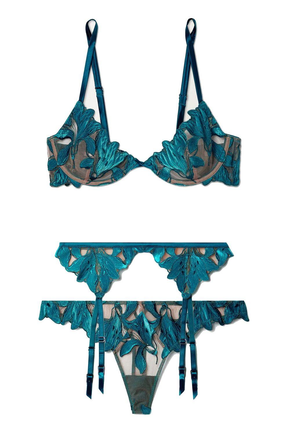 Fleur De Mal, Lily velvet-trimmed embroidered set, сутиен за 250лв, колан за жартиери за 170лв, танга за 107лв