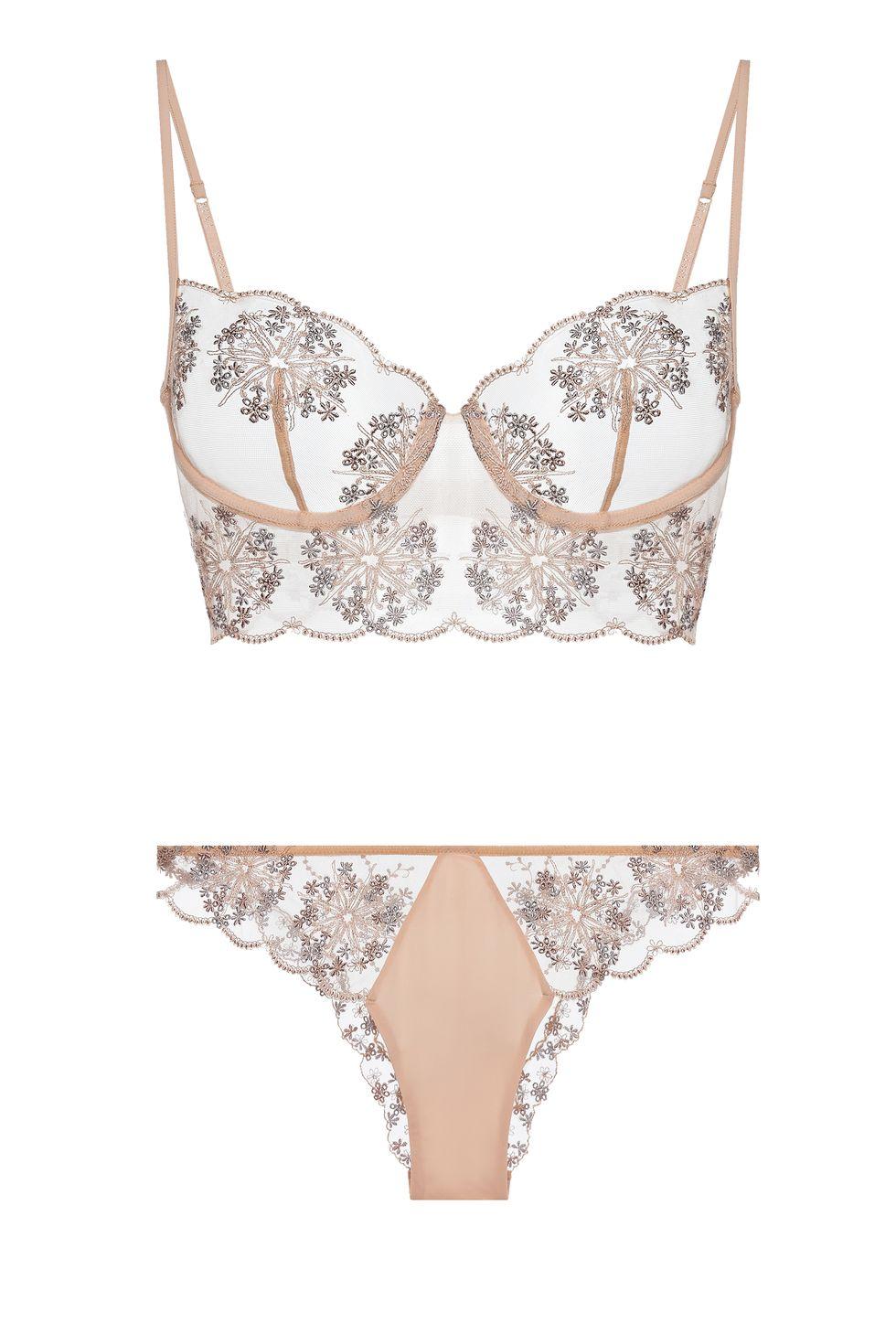 La Perla, Flower Explosion embroidered stretch-tulle Blush set, сутиен за 370лв, танга за 245лв