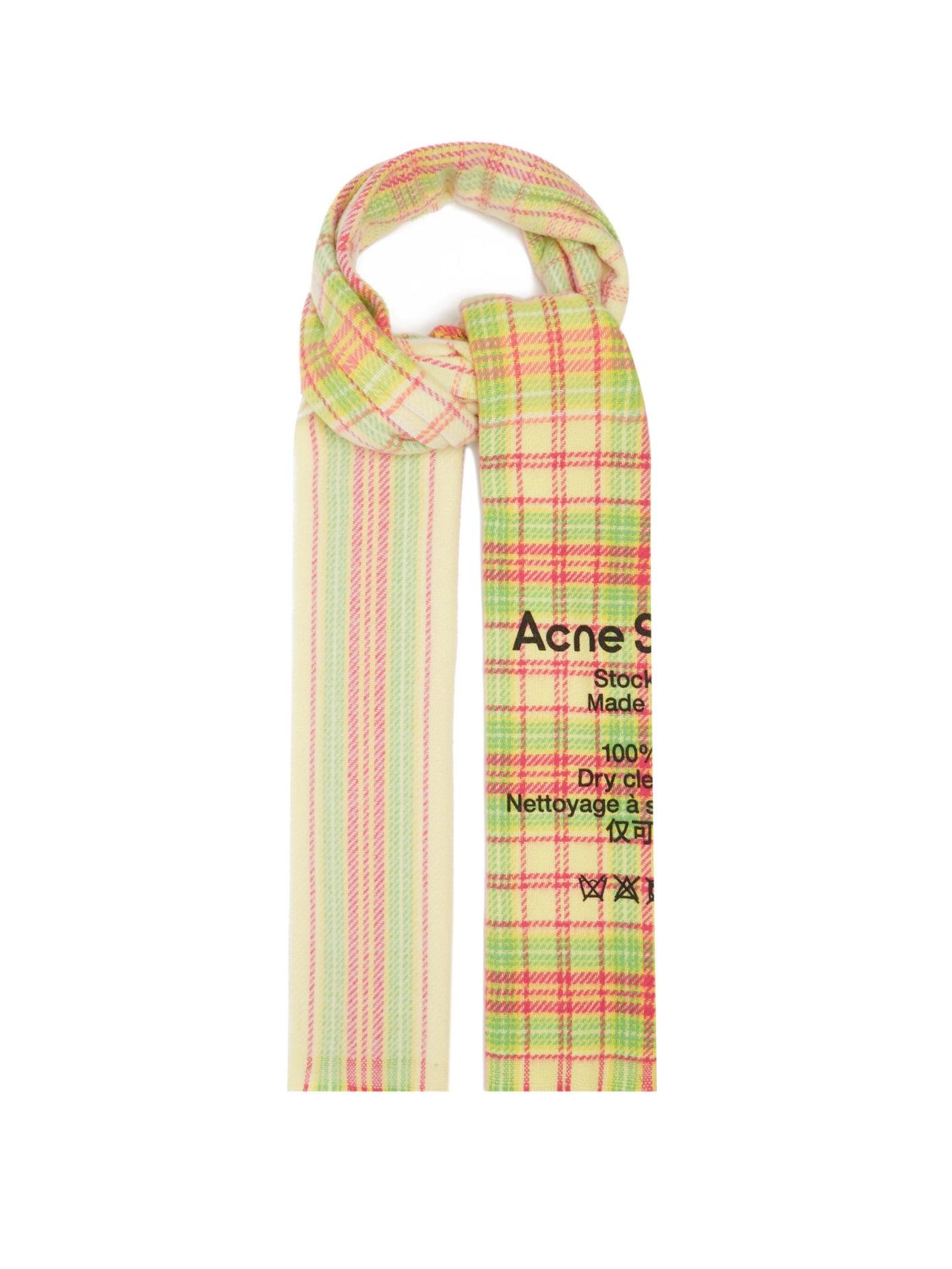 Acne Studios, Cassiar logo-print checked virgin-wool scarf, 312лв