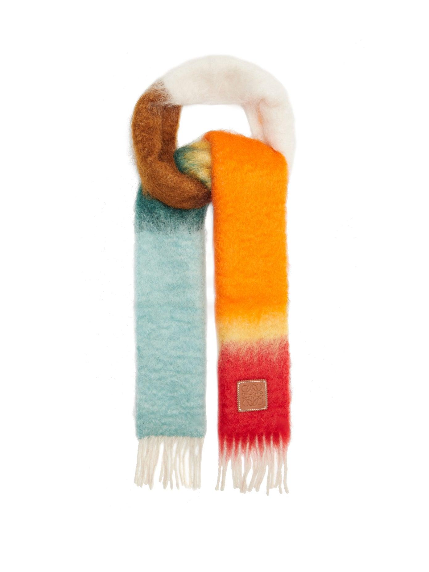 LOEWE, Logo-tab gradient fringed scarf, 382лв