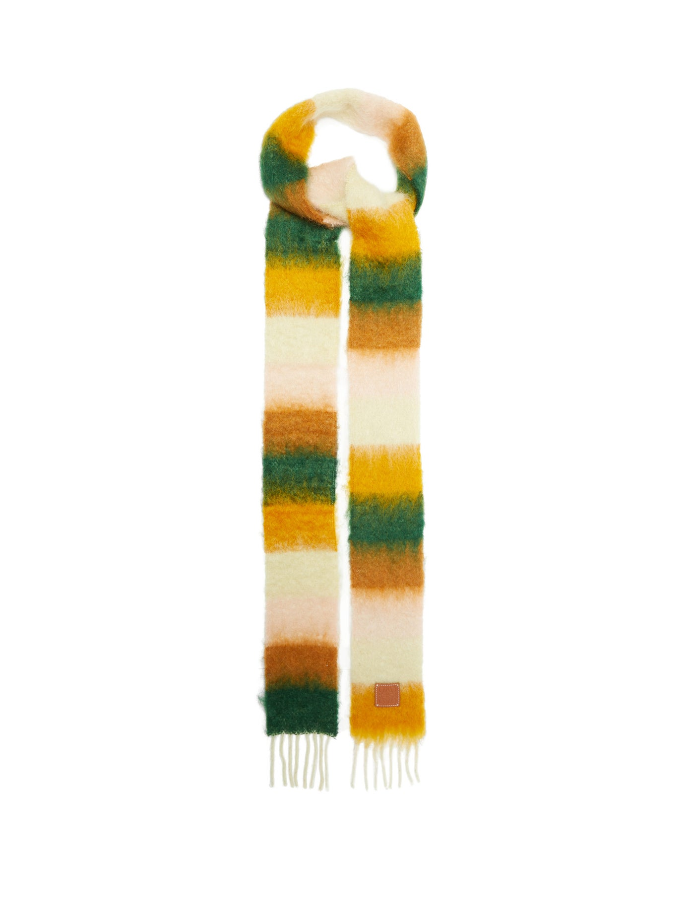 LOEWE, Logo-tab striped fringed scarf, 333лв
