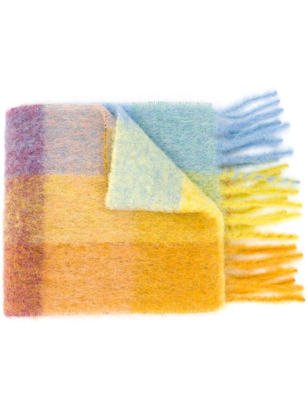 Acne Studios, multi-check fringed scarf, 470лв
