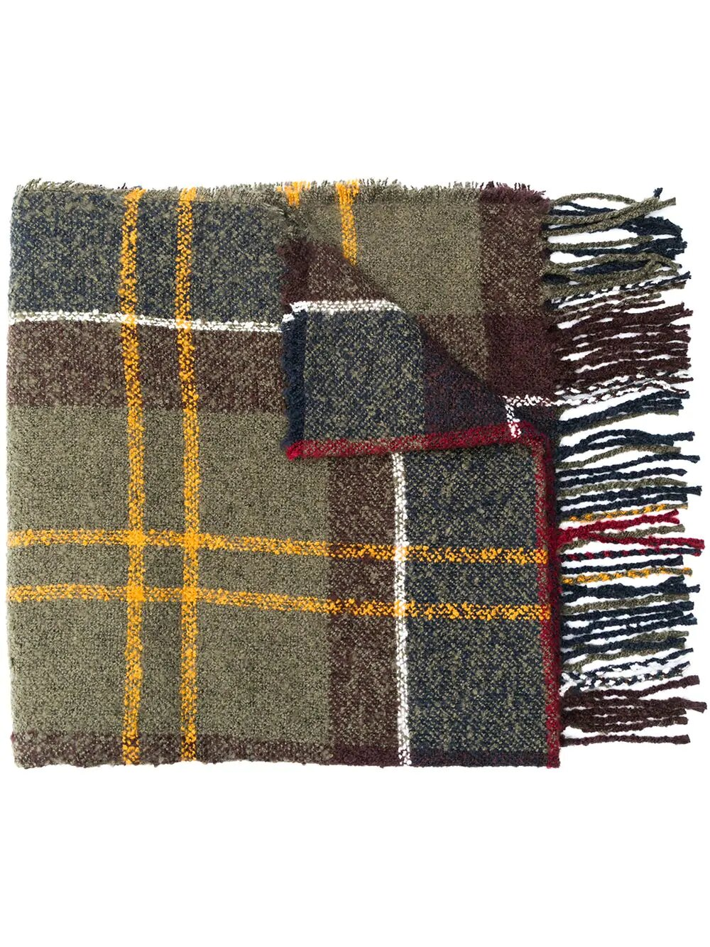 Barbour, tartan bouclé yarn scarf, 150лв
