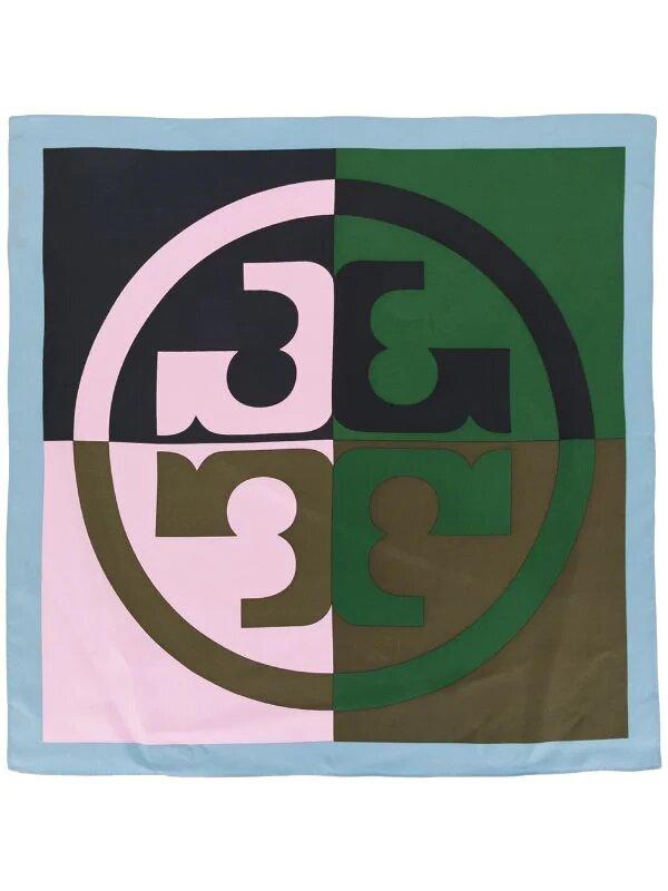 Tory Burch, colour-block logo silk neckerchief, 191лв