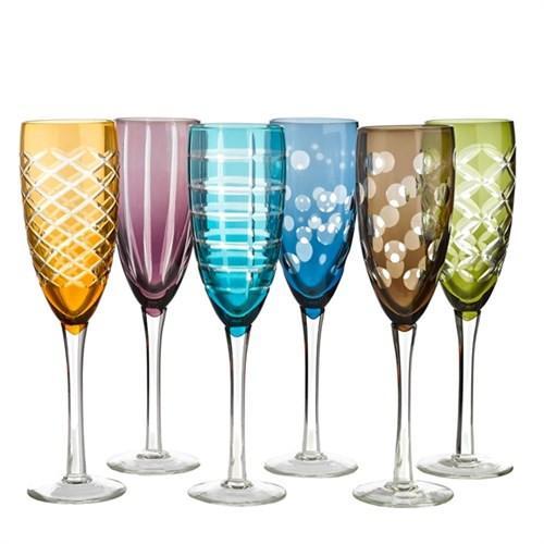 Чаши за шампанско POLS POTTEN Различни чаши на иначе семпла маса е идея, която се каним да реализираме от поне две Коледи. Вероятно сме чакали този сет за шампанско от Pols Potten Studio, защото просто са чудни!Стъклото е оцветено великолепно, мие се в миялна и има неопределима времева и стилова принадлежност. Цена: 249 лв. за комплекта