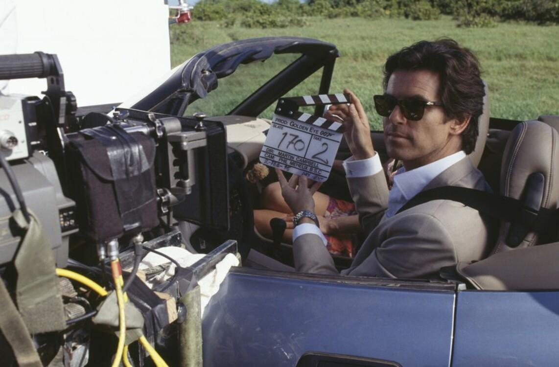 Пиърс Броснан на снимачната площадка на Golden Eye, 1995 година