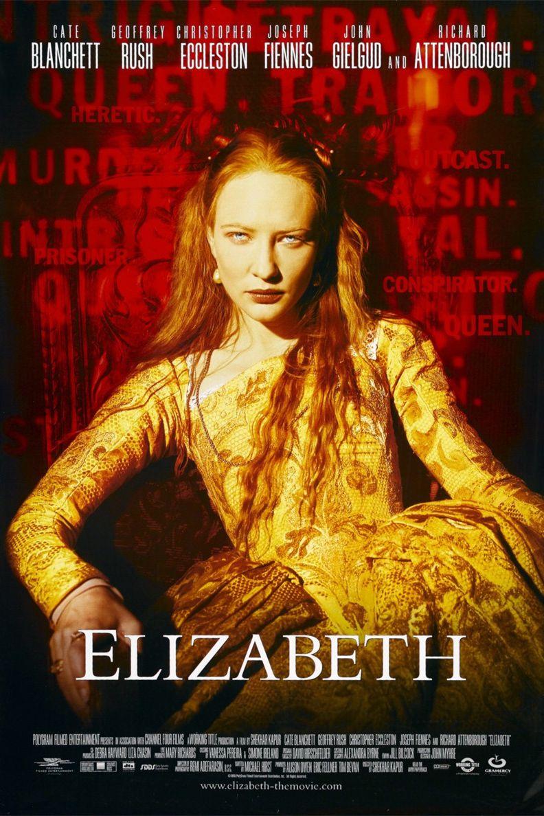 """""""Елизабет"""" (1998) Историческа драма за живота на една от най-интересните жени, възкачвали се някога на английския трон. Кейт Бланшет играе ролята на Елизабет I, печелейки Оскар номинация за най-добра актриса. Филмът проследява борбата на Елизабет за короната от времето, когато тя е млада принцеса до момента, в който се превръща в монарх с помощта на желязната си воля, тайния си любовник (изигран от Джоузеф Файнс) и подчинения си шпионин сър Франсис Уолсингъм (Джефри Ръш)."""