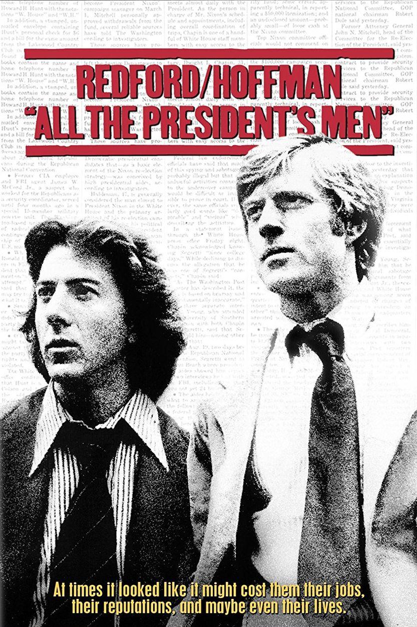"""""""Цялото президентско войнство"""" (1976)  Двама журналисти разследват скандала """"Уотъргейт"""" през 1972 г., когато по време на президентската кампания представители на Републиканската партия опитват да монтират подслушващо устройство в щабквартирата на демократите в хотел """"Уотъргейт"""" във Вашингтон. Работата на репортерите с """"Вашингтон поуст"""" довежда до оставката на президента Ричард Никсън, което е прецедент в историята на САЩ."""
