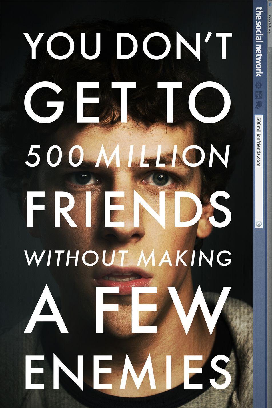 """""""Социалната мрежа"""" (2010) Имаше много дебати относно това, доколко филмът е близко до истината за възхода на компанията """"Фейсбук"""". Въпреки това обаче, работата на сценариста Арън Соркин и режисьора Дейвид Финчър определено въздейства върху зрителя, представяйки доста сериозни интриги, които станаха емблематични за компанията."""