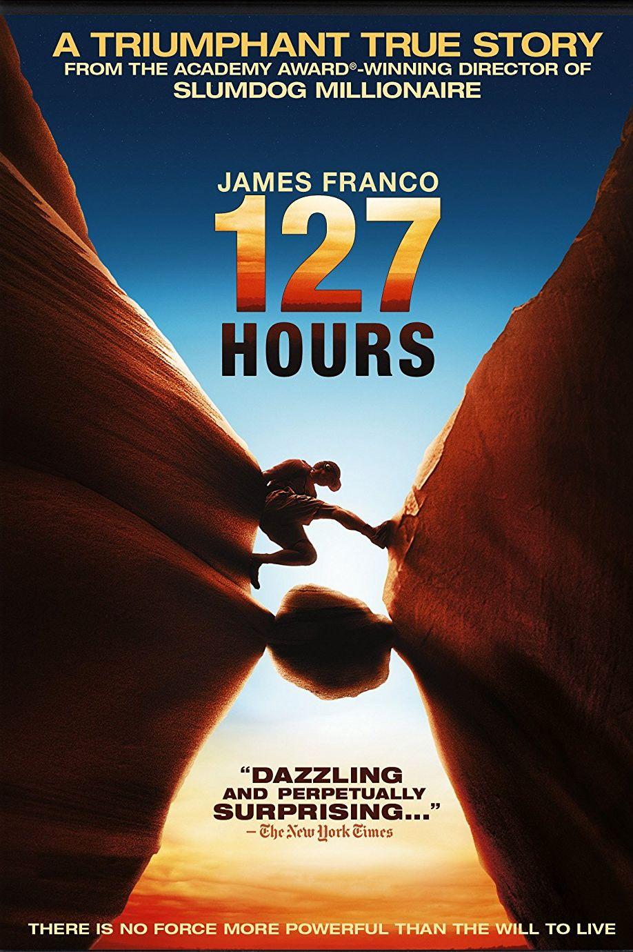 """""""127 часа"""" (2010) Джеймс Франко изпълнява ролята на Арън Ралстън – машинен инженер, планинар и мотивационен говорител. През 2003 г. по време на изкачване на каноните в Юта, Ралстън заклещва дясната си ръка между скалите. Единственият начин да се спаси е като я ампутира."""