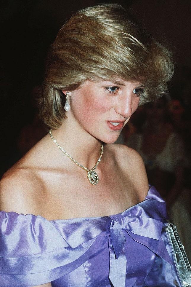 """Принцеса Даяна с огърлица """"Принцът на Уелс"""", 1983 г."""