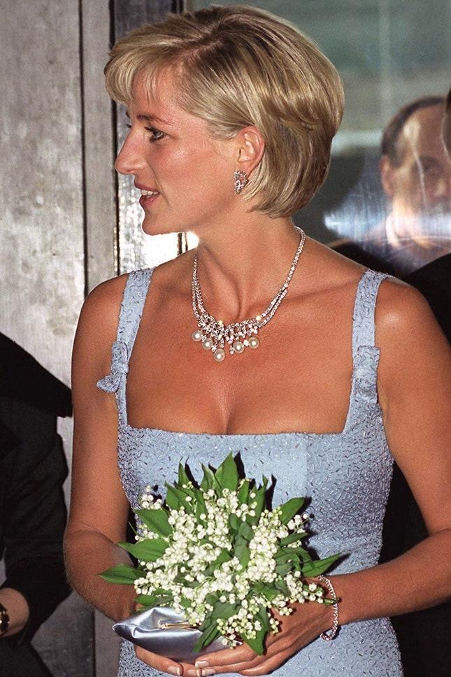 Принцеса Даяна с диамантено колие с перли, 1997 г.