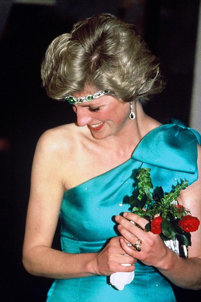 Принцеса Даяна с изумруден диамантен пръстен, 1985 г.