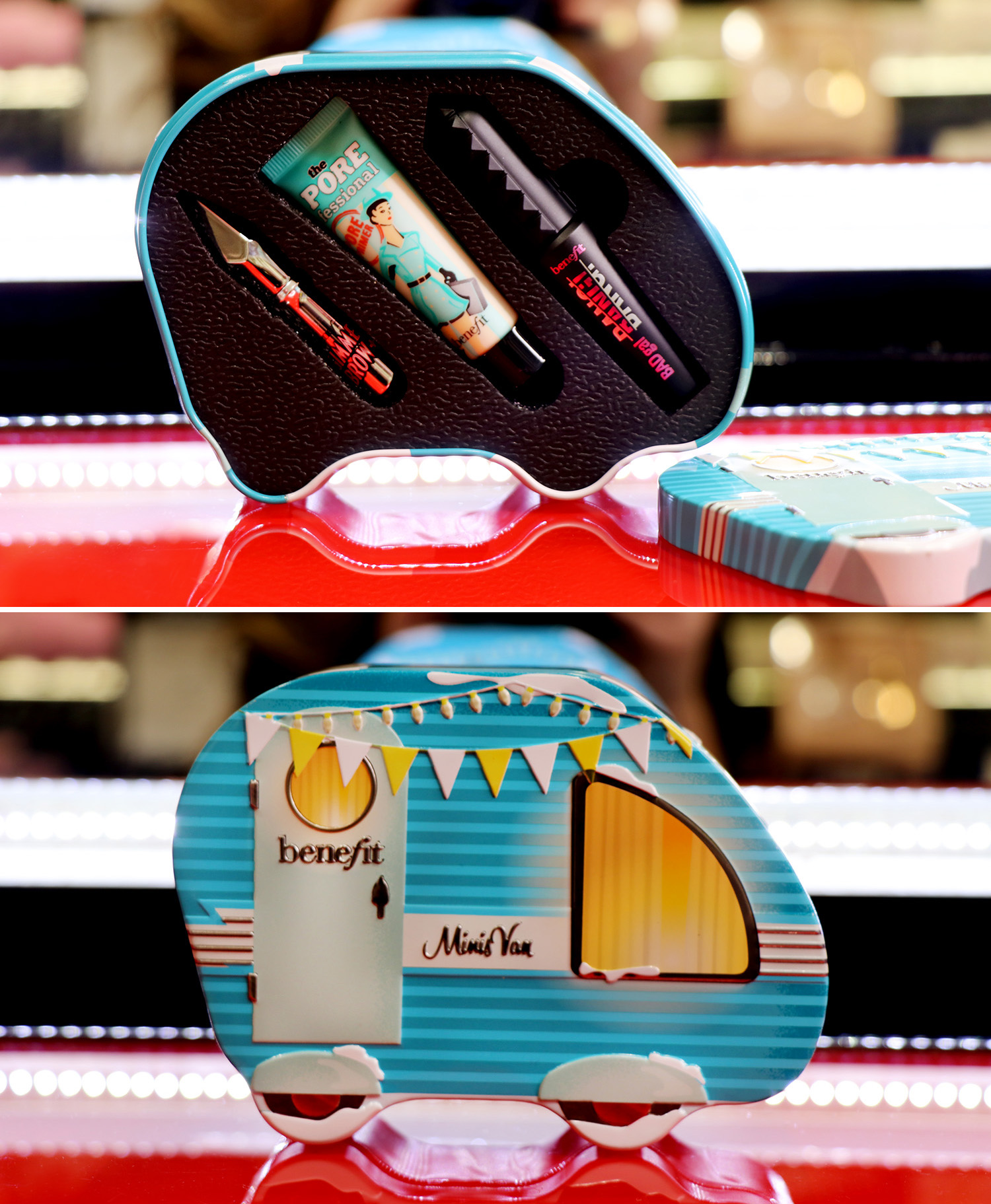 Коледен сет Minis Van от Benefit Cosmetics, 45лв. Всяка уважаваща веждите си дама знае що за чудо са продуктите за очи и вежди на Benefit. Ненадминати в устойчивостта на формулите си и наситеността на цветовете си, спиралите и геловете за вежди неслучайно са едни от най-предпочитаните стилизиращи грим продукти EVER. Мини версии на Gimme Brow+ brow-гела, The POREfessional праймъра и BADgal BANG! спиралата за обем побира сладурски миниван с винтидж дизайн ексклузивно в Sephora тази Коледа.