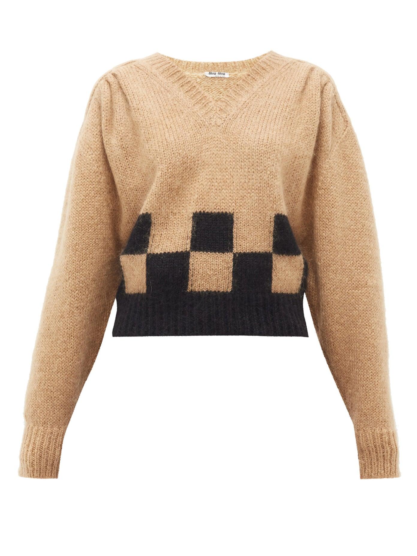 MIU MIU Checkerboard Mohair-blend Sweater 1278лв