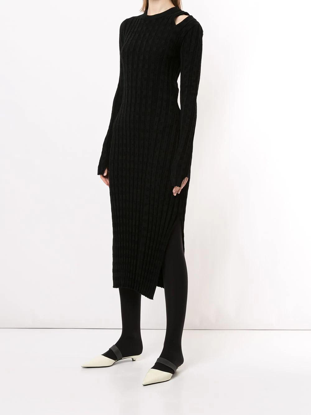 Proenza Schouler White Label Velvet Checkerboard Ribbed Dress 908лв