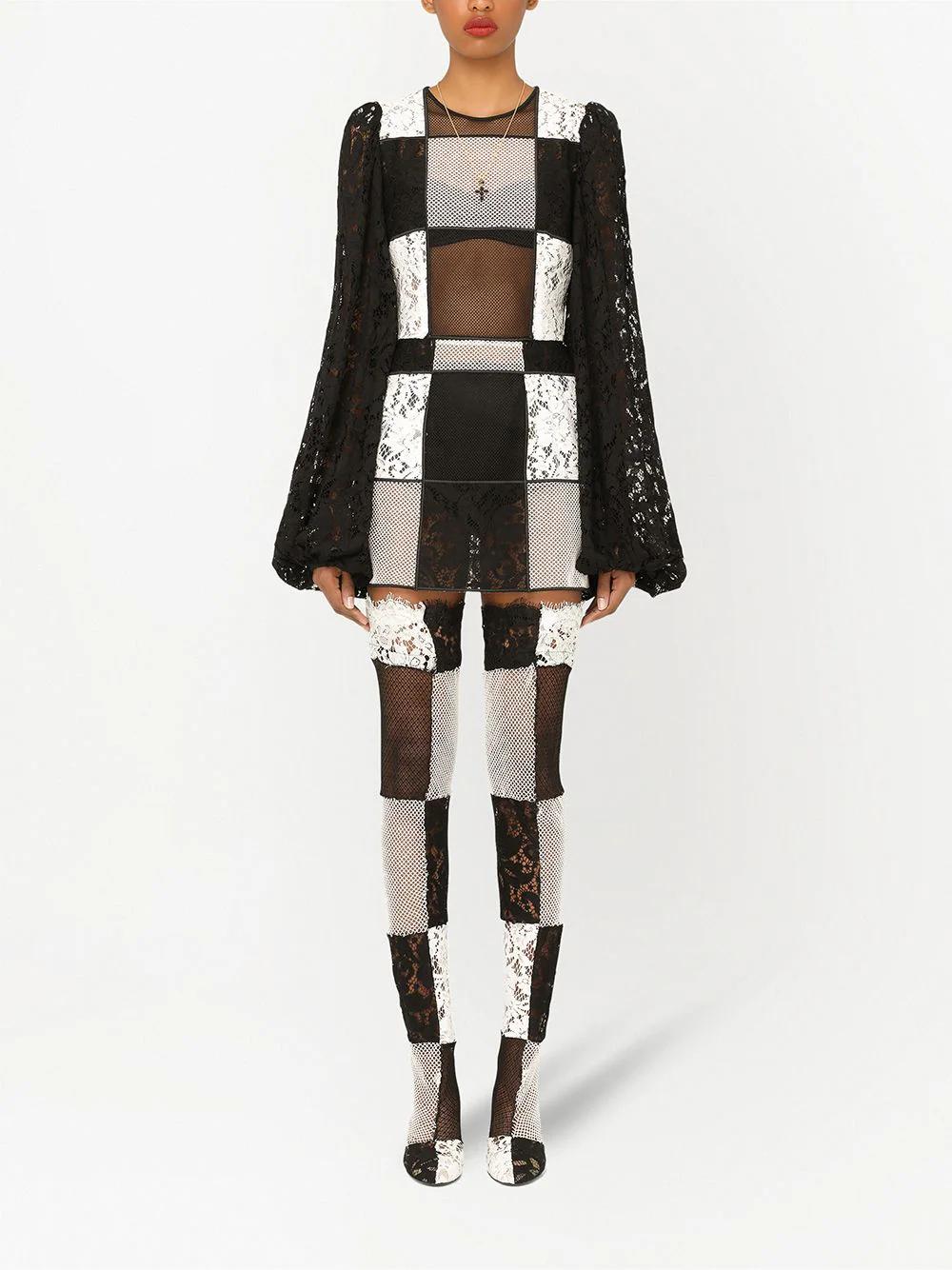 Dolce & Gabbana Checkerboard Lace Dress 7720лв