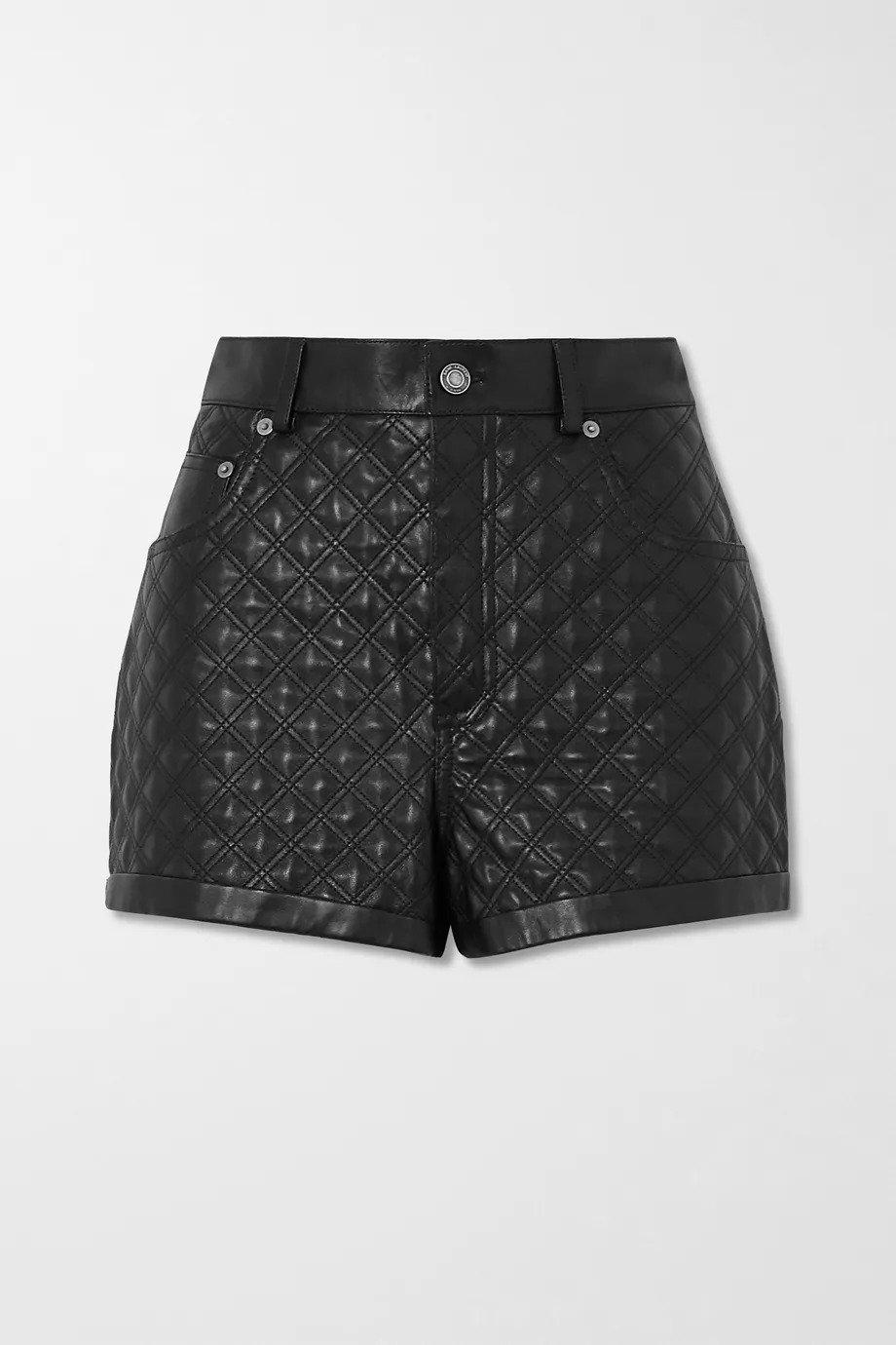 SAINT LAURENT, Quilted padded leather shorts, от 5062лв на 2531лв