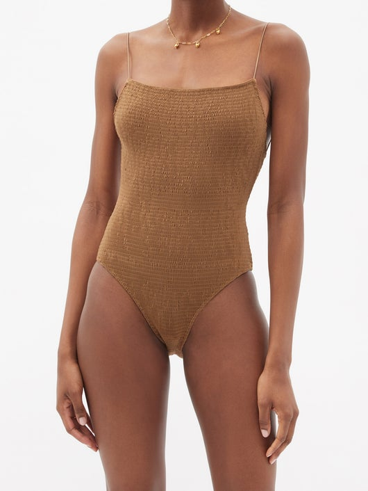 TOTЕME Shirred recycled-fibre swimsuit 371лв