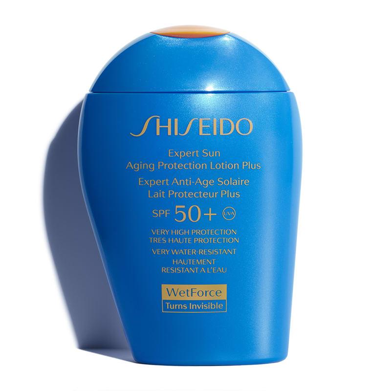 Shiseido WetForce Expert Sun Aging Protection Lotion Plus SPF50+  78 лв. Формулата осигурява мощна защита срещу слънчевите лъчи, като действието се засилва след контакт с вода и/или изпотяване, правейки го незаменим приятел на плажа, но и не само.