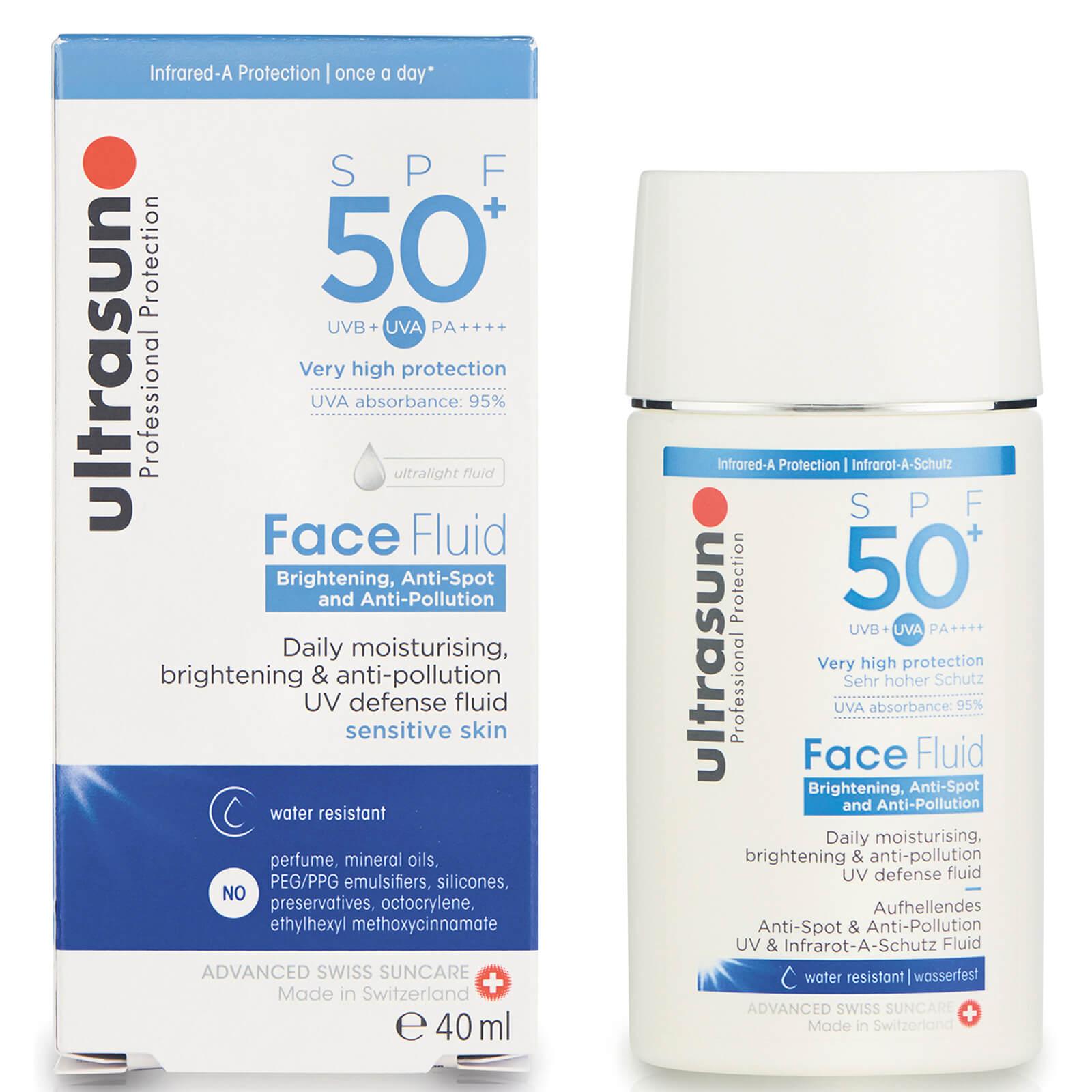 Ultrasun SPF 50+ Anti-Pollution Face Fluid 61 лв. Сливайки ведно слънцезащита и грижа за кожата, флуидът осигурява широкоспектърна защита срещу слънчевите лъчи, но и също така предпазва кожата от замърсяване, възвръща здравословните нива на влага и се бори срещу пигментните петна.