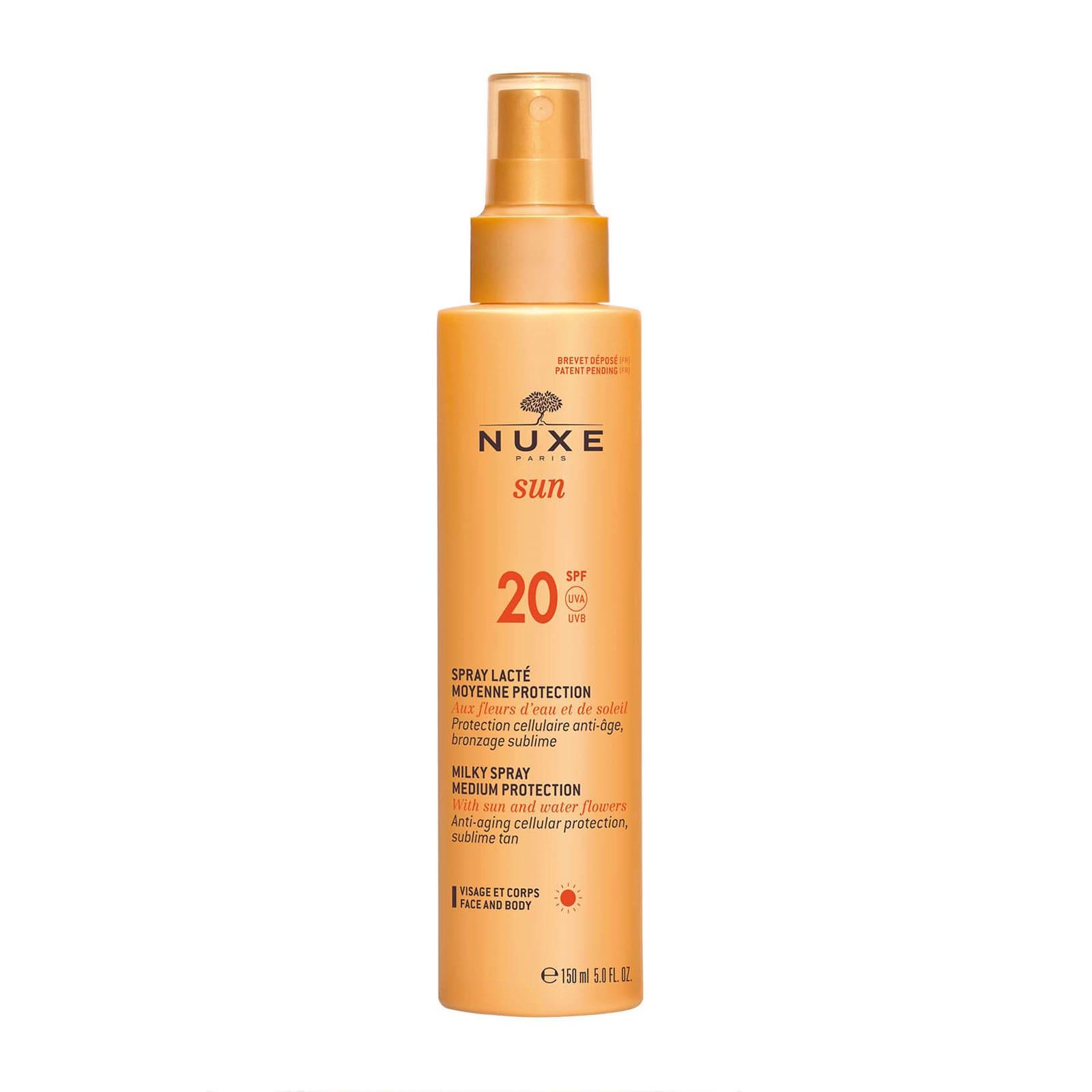 NUXE SUN Milky Spray for Face and Body - Medium Protection SPF20 38 лв. С една единствена лесна стъпка спреят защитава кожата, но и също така стимулира естественото активиране на загара с бързо абсорбираща, лека текстура.