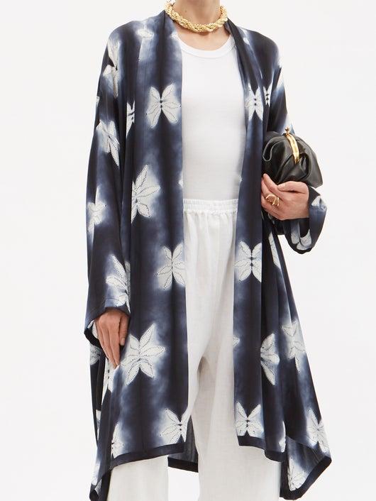 Eskandar Shibori-dyed Silk-satin Coat 4489лв