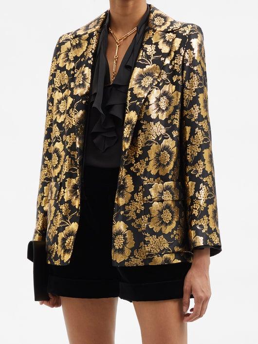 Saint Laurent Lotus-jacquard Silk-blend Satin Blouse 5654лв