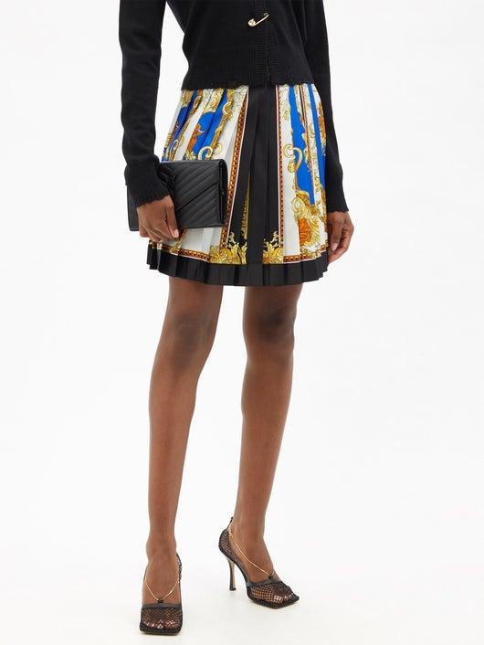 Versace Baroque-print Pleated Silk-twill Mini Skirt 2152лв
