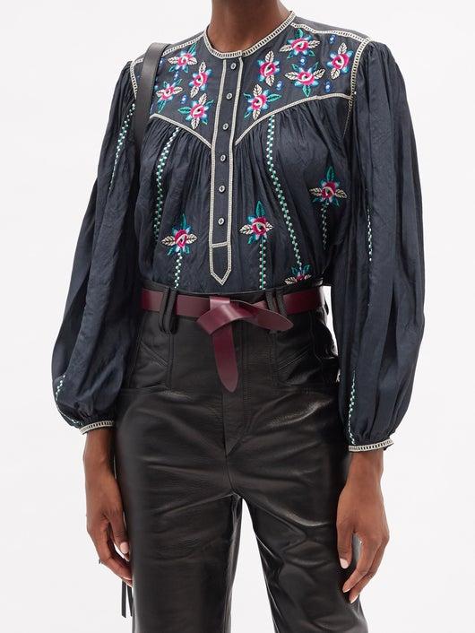 Isabel Marant  Caitlyn Floral-embroidered Silk Blouse 1154лв